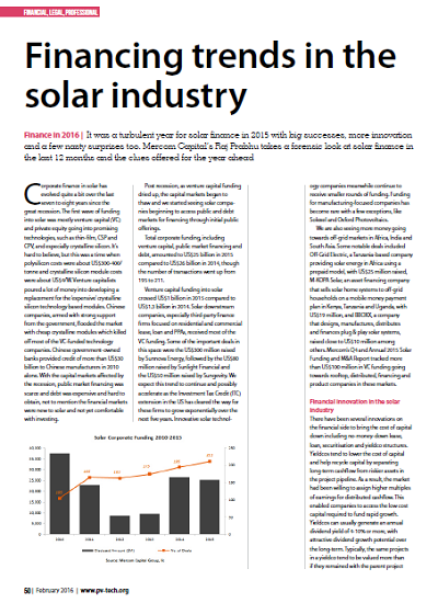 Thumbnail for Financing trends in the solar industry