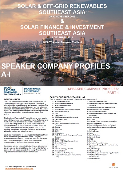 Thumbnail for Solar & Off-Grid Renewables | Solar Finance & Investment Southeast Asia - Meet the Speakers: Part 1
