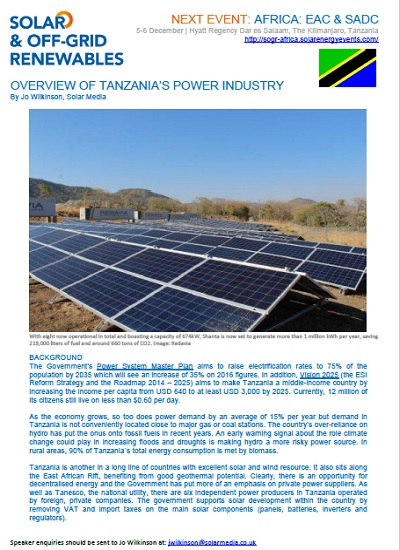Thumbnail for Solar & Off-Grid Renewables Africa - Tanzania's Power Overview