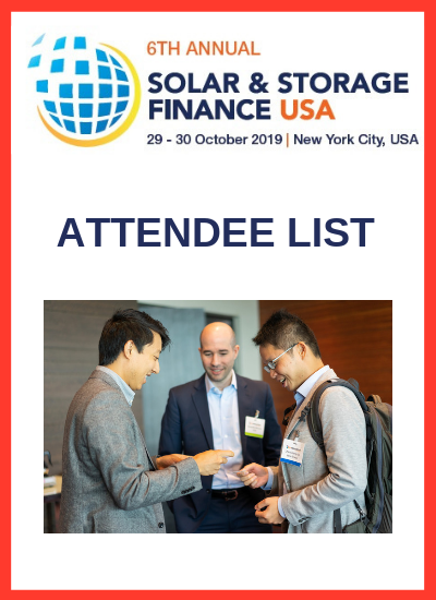 Thumbnail for Solar & Storage Finance USA 2019 Attendee List