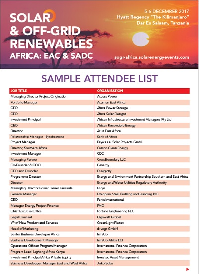 Thumbnail for Solar & Off-Grid Renewables Africa - Sample Attendee List