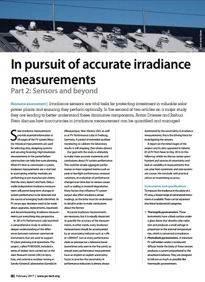 Thumbnail for In pursuit of accurate irradiance measurements Part 2: Sensors and beyond