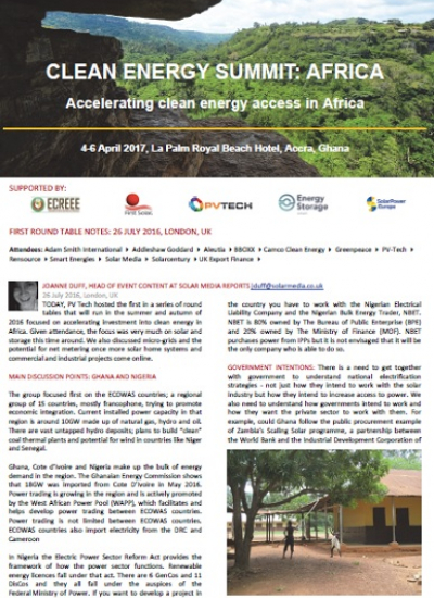 Thumbnail for Clean Energy Summit: Africa 2017 - Round Table Notes