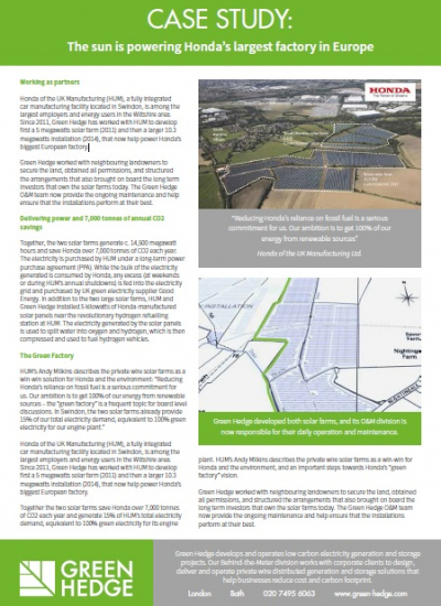 Thumbnail for Case Study - Green Hedge - The sun is powering Honda's largest factory in Europe