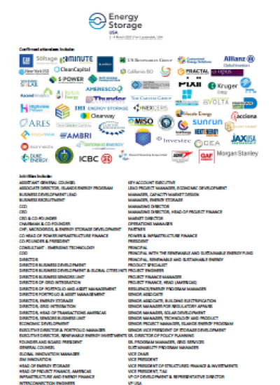 Thumbnail for Energy Storage Summit USA 2020 -Attendee List