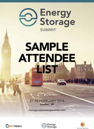 Thumbnail for Energy Storage Summit 2018 - Sample attendee list