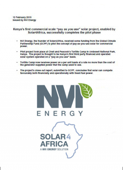 "Thumbnail for Kenya's first commercial scale ""pay as you use"" solar project, by Solar4Africa"
