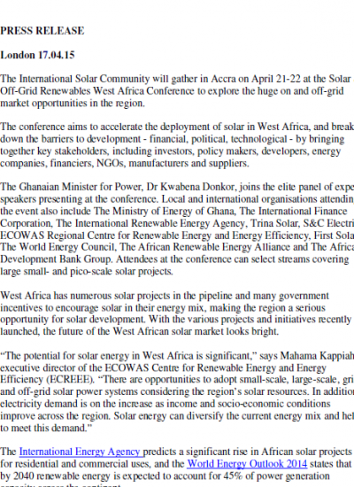 Thumbnail for Press Release - Ghana power minister to join top-level speakers at West Africa solar event