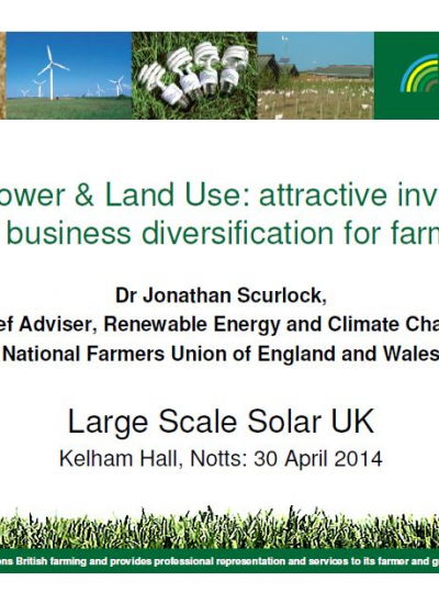 Thumbnail for Solar Power & Land Use: attractive investment and business diversification for farmers