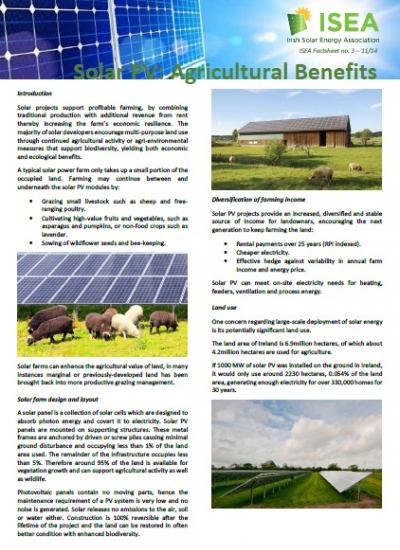 Thumbnail for Solar PV Agricultural Benefits - ISEA Factsheet