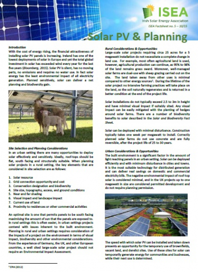 Thumbnail for Solar PV and Planning - ISEA Factsheet