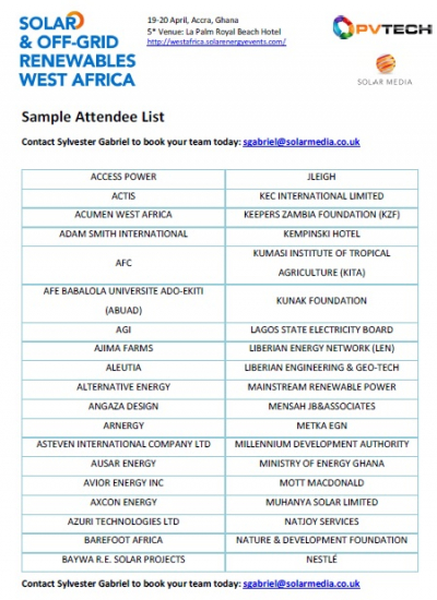 Thumbnail for Solar & Off-Grid Renewables West Africa Conference 2016 - Attendee List