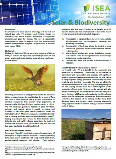 Thumbnail for Solar and Biodiversity - ISEA Factsheet
