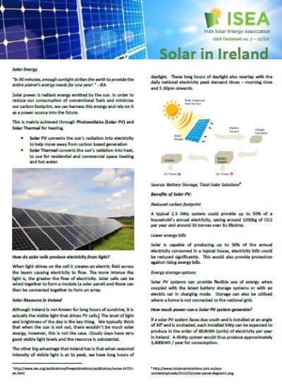 Thumbnail for Solar in Ireland - ISEA Factsheet