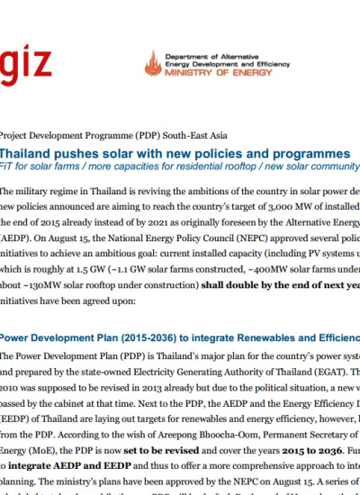 Thumbnail for GIZ: Thailand pushes solar with new policies and programmes
